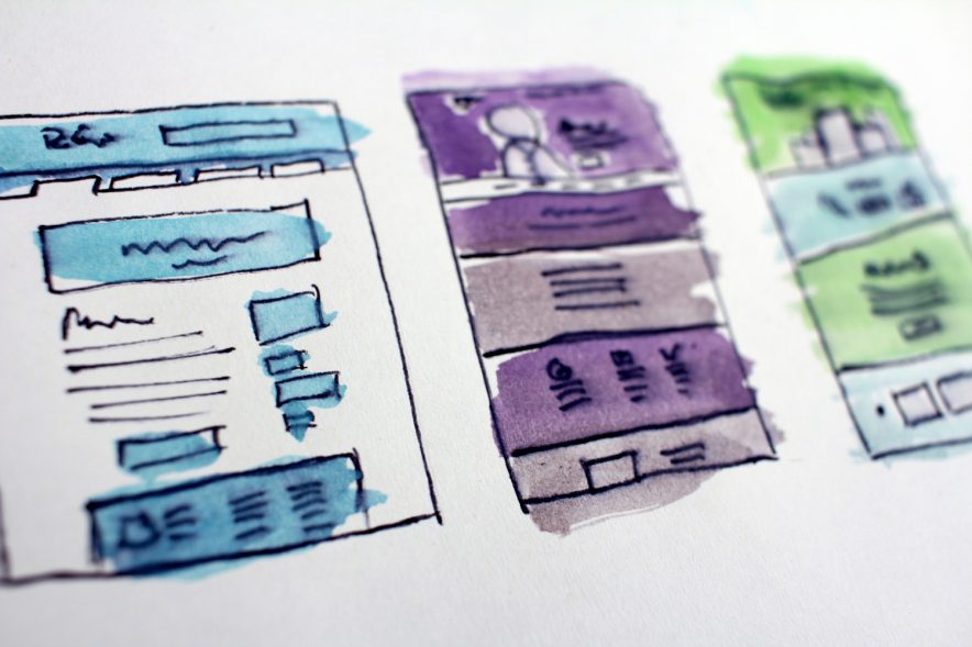 A sketch-up of different website designs based around the customer journey.